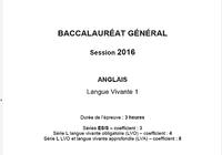 Bac Anglais LV1 2016 Séries L-ES-S Pondichéry