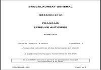 Sujet Bac Français 2012