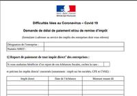 Formulaire demande de délai de paiement et-ou de remise d'impôt - Covid 19