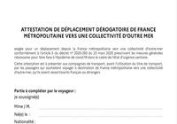 Attestation de déplacement dérogatoire de France métropolitaine vers une collectivité d'Outre-Mer