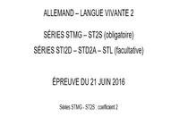 Bac 2016 Allemand LV2 Séries Technologiques