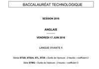 Bac 2016 Anglais LV1 Séries technologiques