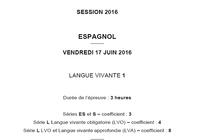 Bac 2016 Espagnol LV1 Série L-ES-S