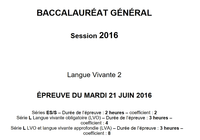 Sujet Anglais LV2 Bac 2016