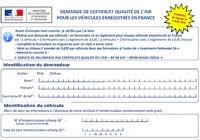 Formulaire de demande de certificat qualité de l'air pour les véhicules enregistrés en France