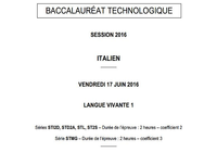 Bac 2016 Italien LV1 Séries Technologiques