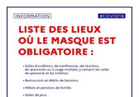 Masque obligatoire - Liste des lieux PDF