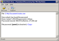 OneNote Password Recovery Key