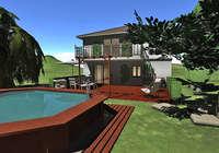 Maison, terrain et jardin 3D