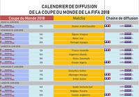 Calendrier de diffusion de la Coupe du Monde 2018