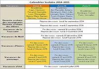 Calendrier Vacances Scolaires 2014-2015