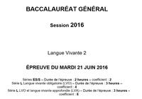 Bac 2016 Allemand LV2 Séries L, ES et S