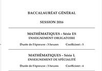 Bac Mathématiques 2016 Séries L-ES Pondichéry