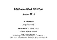 Bac 2016 Allemand LV1 Série L-ES-S