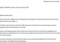 lettre résiliation numericable hausse TVA