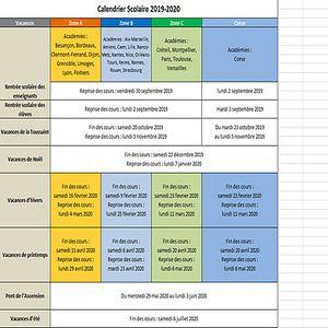 Calendrier Scolaire 2019 2020 Excel.Telecharger Calendrier Vacances Scolaires 2019 2020 2019