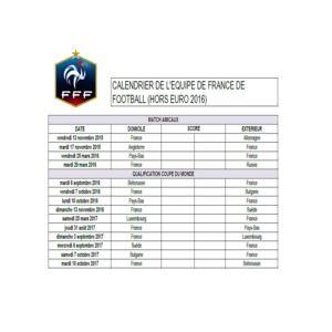 Calendrier Des Match Euro.Download Calendrier De L Equipe De France De Football Hors