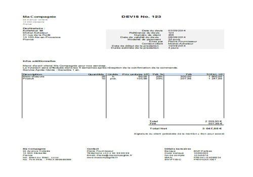 Télécharger Modèle de devis Excel pour Windows   Demo