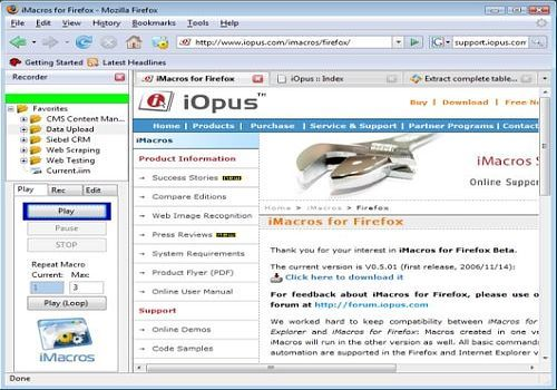 Download iMacros for Firefox for Windows | Freeware