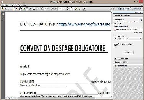 Modèle de Convention de Stage Obligatoire