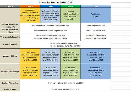 Calendrier Scolaire Mai 2020.Telecharger Calendrier Vacances Scolaires 2019 2020 2019