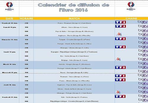 Euro Calendrier Match.Telecharger Calendrier De Diffusion De L Euro 2016 Pour