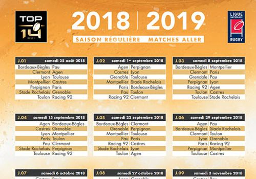 Calendrier Top 14 2018-2019