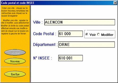 CODE POSTAL ET INSEE