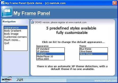 Download My Frame Panel ActiveX for Windows | Shareware