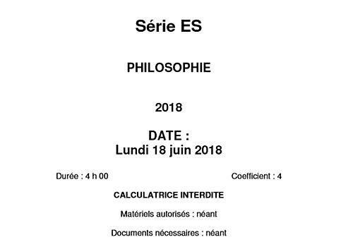 Bac 2018 Philosophie Série ES