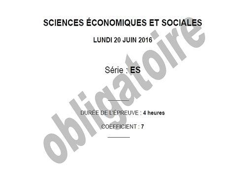 Bac 2016 Sciences Economiques et Sociales