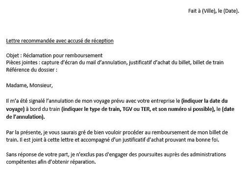 Download Lettre De Réclamation Sncf Remboursement 1 0 For