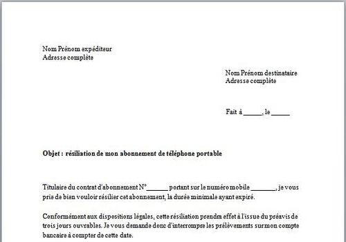 Download Modèle De Lettre De Résiliation Abonnement Mobile