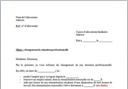 Download Modèle De Lettre Changement De Situation Caf For