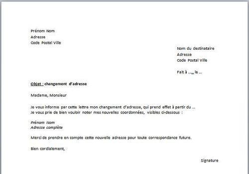 Download Modèle De Déclaration De Changement D Adresse For