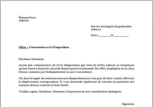 Download Modèle De Lettre Contestation Avis D Imposition For
