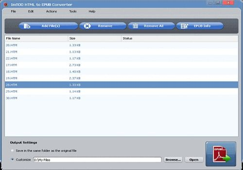 Download ImTOO HTML en EPUB Convertisseur for Windows   Demo