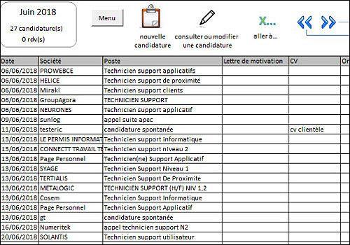 Mes candidatures sur Excel - 2018