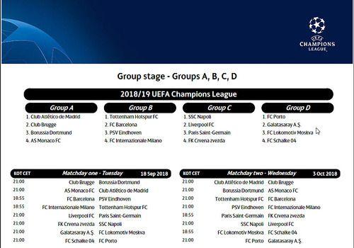 Champions League 2019 Calendrier.Download Calendrier Officiel De La Ligue Des Champions 2018