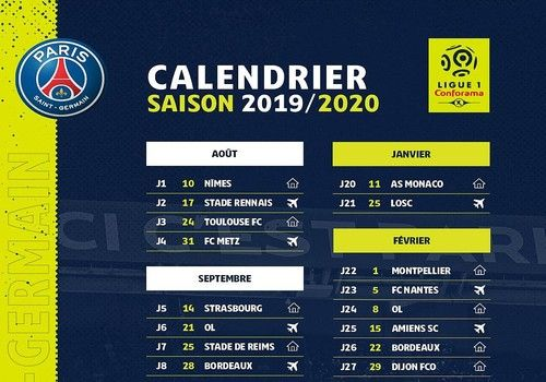 Calendario Ligue.Calendrier Psg Ligue 1 2019 2020