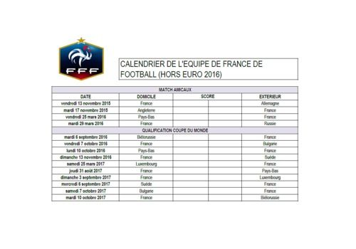 T l charger calendrier de l 39 quipe de france de football - Calendrier coupe d europe 2016 ...