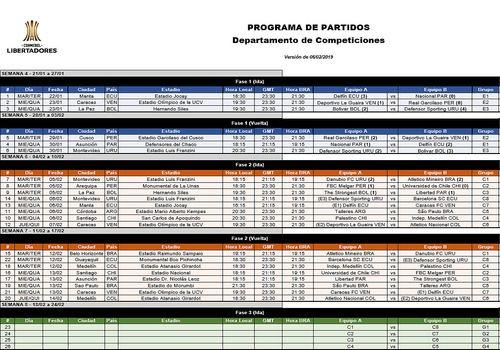 Calendario Copa.Descargar Calendario Copa Libertadores 2019 Fase 1 Fase De Grupos