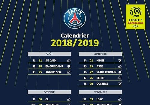 Match Om Calendrier.Download Calendrier Psg Ligue 1 2018 2019 18 19 For Windows