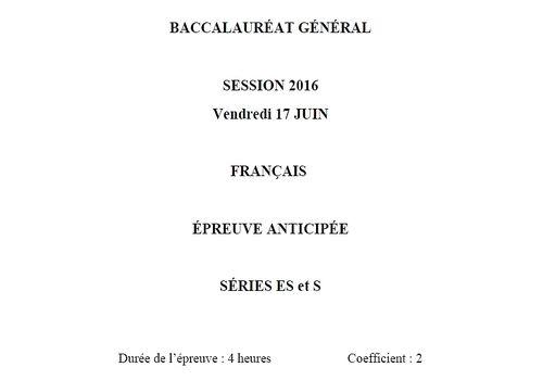 Sujet Bac 2016 Français Série L
