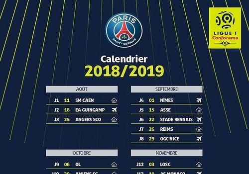 Calendrier L1 Psg.Telecharger Calendrier Psg Ligue 1 2018 2019 18 19 Pour