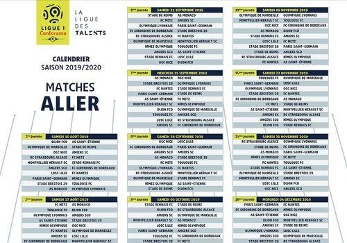 Psg Calendrier Match.Telecharger Calendrier Ligue 1 Pdf 2019 2020 1920 Pour