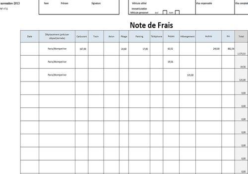 Telecharger Note De Frais Excel 1 0 Pour Windows Freeware
