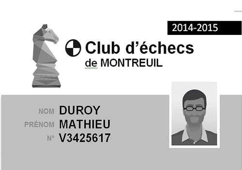 Carte de membre de Club d'échecs