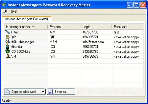 Download Instant Messengers Password Recovery Master for Windows