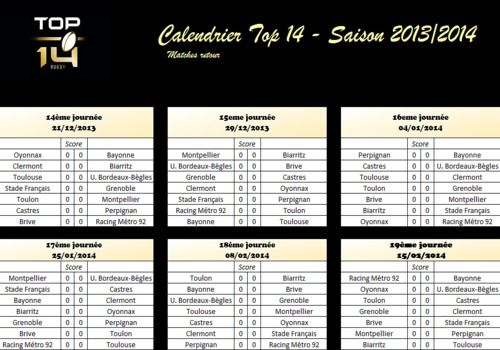 Calendrier Match Top 14.Telecharger Calendrier Top 14 Saison 2013 2014 Retour Pdf